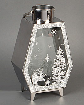 Small Silver Christmas Tree Lantern