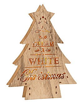 Dream A White Christmas Wooden LED Tree