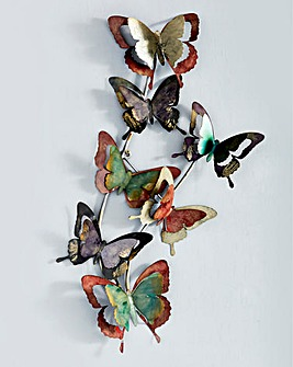 Rainbow Butterflies Metal Wall Art