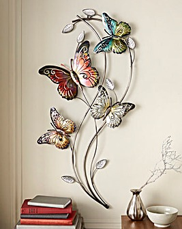 Rainbow Butterflies Metal Wall Art