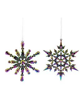 Set of 4 Iridescent Snowflake Baubles
