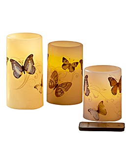 Set of 3 Butterfly LED Candles