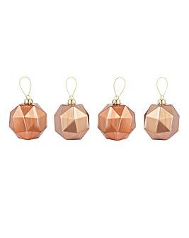 Setof 4 Copper & Rose Gold Geo Baubles