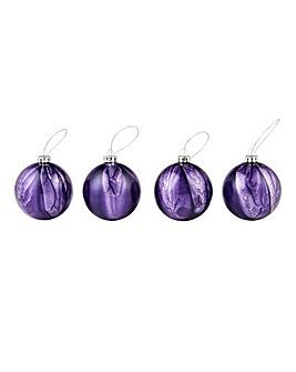 Set of 4 Purple Glass Shimmer Baubles