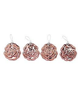 Set of 4 Blush Rose Baubles
