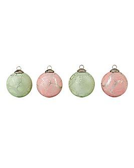 Set of 4 Crackle Pink & Green Baubles