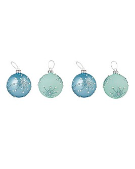 Set of 4 Pastel Blue Starburst Baubles