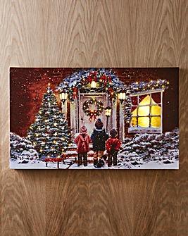 Snowy Children & Dog LED Canvas