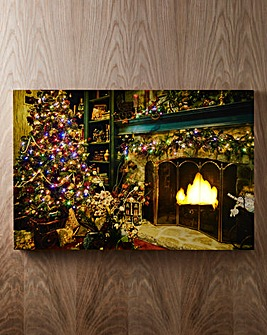Glowing Fireplace Scene Canvas