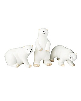 Set of 3 Ceramic Polar Bears