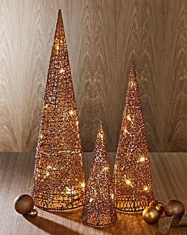 Set of 3 Rattan LED Cones