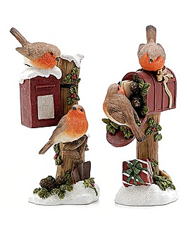 Set of 2 Robins Sat on Post Box