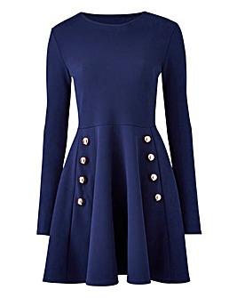 Button Detail Skater Dress