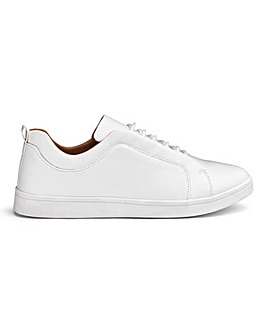 White Leather Look Lace Trainers