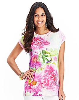 JOANNA HOPE Print Front Jersey Back Top
