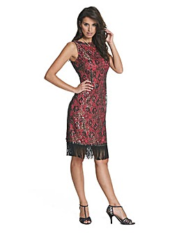 Joanna Hope Fringe Lace Dress