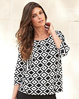 JOANNA HOPE Print Textured Jersey Top