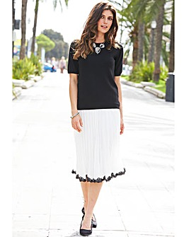 JOANNA HOPE Pleated Lace Trim Skirt
