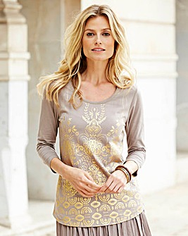 JOANNA HOPE Foil Print Jersey Top