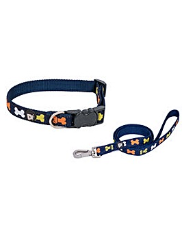 Petface Multi Bones Dog Collar And Lead