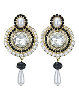 Mood pearl droplet disc earring