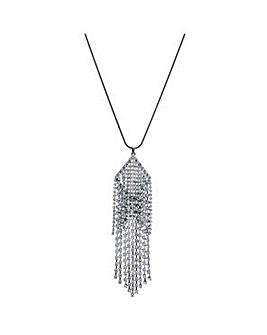 Mood Silver droplet long necklace