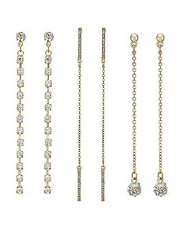 Mood Gold crystal drop earring set
