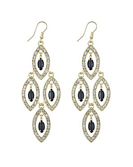 Mood Jet droplet chandelier earring