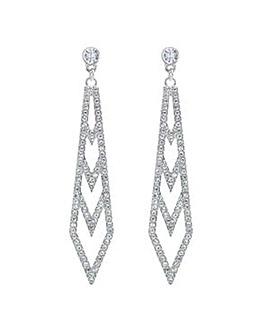Mood Silver crystal ladder drop earring