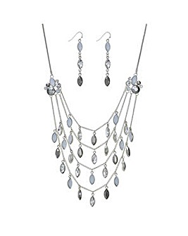 Mood Silver navette jewellery set