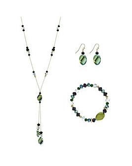 Mood Metallic green beaded jewellery set