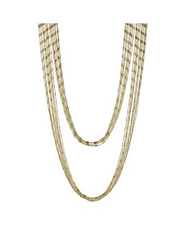 Mood Gold bead chain multi row necklace
