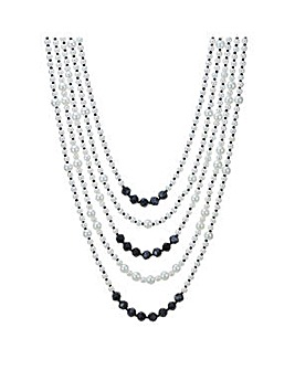 Mood Monochrome pearl multi row necklace