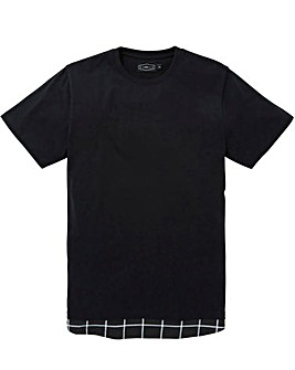 Label J Check Hem Trim Longline Tee