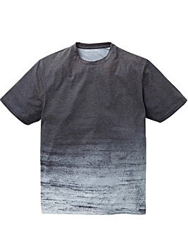 Label J Texture Stripe Step Hem Tee
