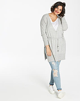 Wool-Mix Drawstring Cardigan