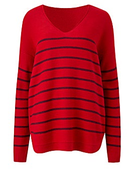Stripe Curved Hem Jumper