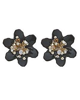 Mood crystal 3d flower stud earring