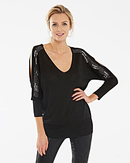 Metallic V Neck Cold Shoulder Jumper
