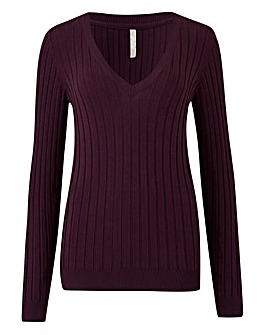 Rib V Neck Jumper