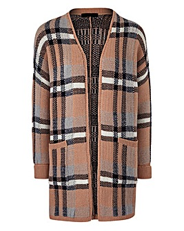 Checked Brushed Cardigan
