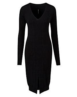 Rib Detail Midi Dress