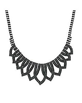 Mood Jet crystal loop necklace