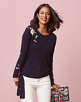Embroidered Tie Side Boucle Jumper