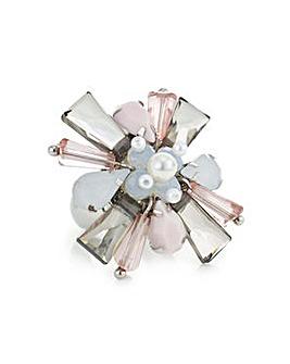 Mood Pink crystal flower statement ring