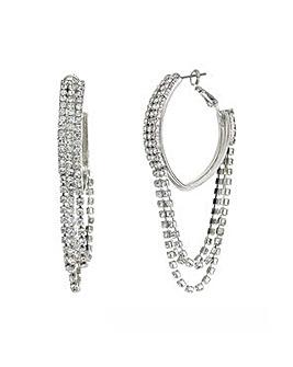 Mood Silver diamante hoop earring