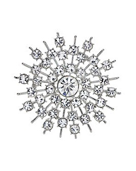 Mood Silver crystal snowflake brooch