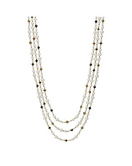 Mood Multi row pearl and bead necklace