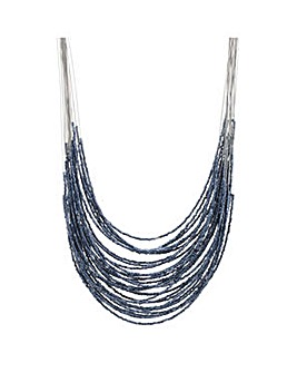 Mood Blue beaded multi row necklace