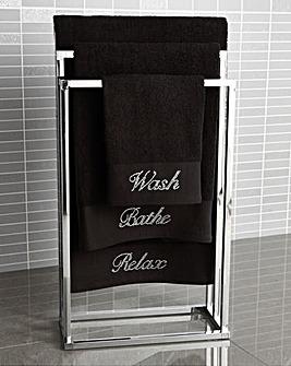 Diamante Bath Towel Pair